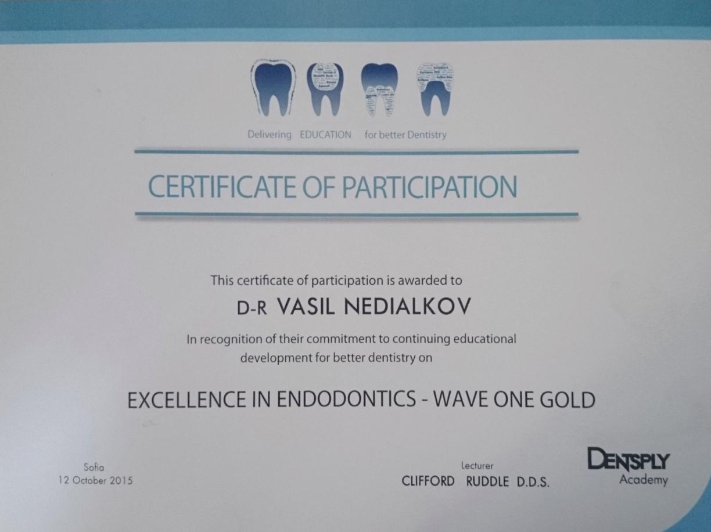 DensePly Academy Excellence in Endodontics Certificate Dr Vasil Nedialkov